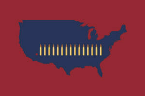 Red background. Blue USA with Bullets going west to east - Illustration